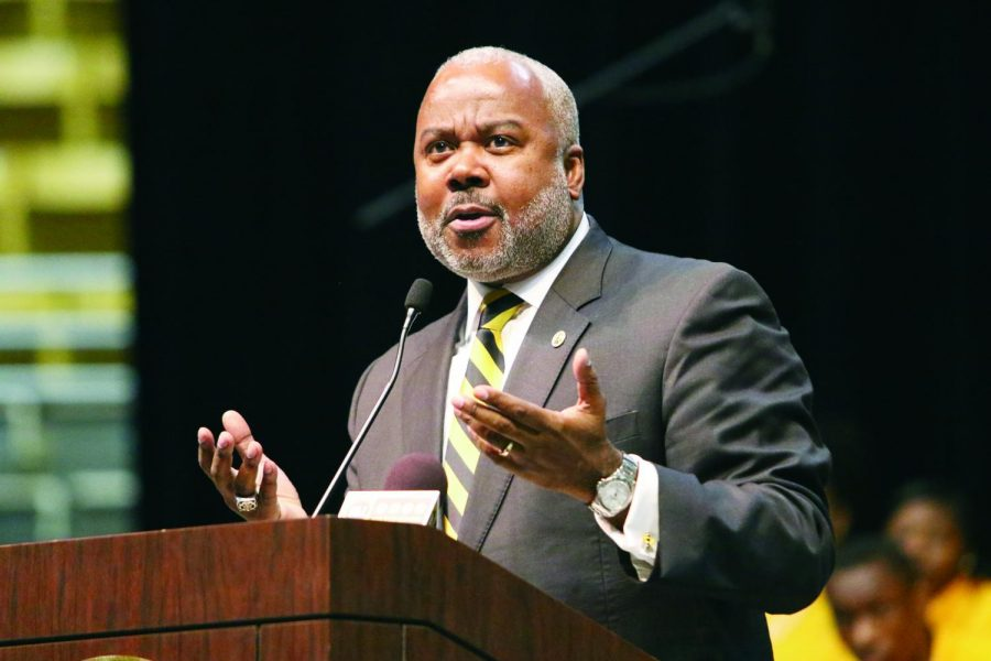 File Photo:  University President Quinton T. Ross, Jr., Ed.D, delivers the State of the University Address on last year.  This year he was compelled to deliver the address from his office due to COVID-19.