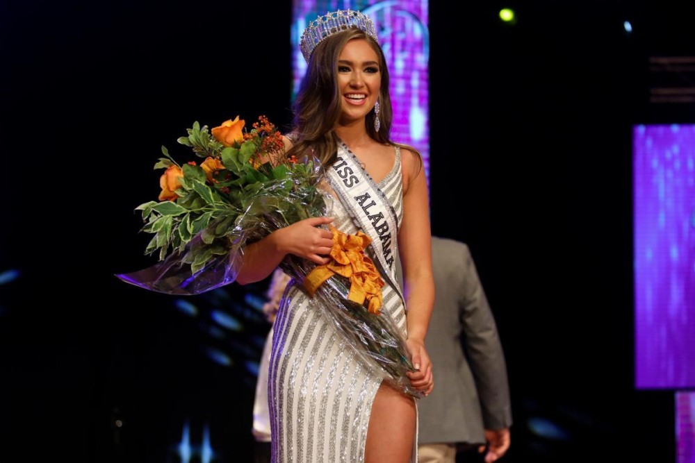 Miss Auburn-Opelika USA Kelly Hutchinson reacts to winning Miss Alabama USA 2020 during the Miss Alabama USA pageant at the Gogue Performing Arts Center in Auburn on Oct. 5, 2019.