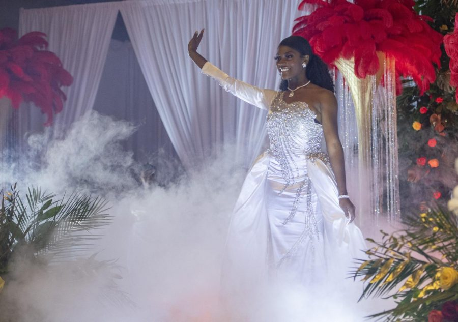 Yasmine Whitehurst, Miss Alabama State University 2020-21, waves to the crowd after her formal introduction during the Coronation ceremonies that were held on Saturday, Oct. 24.