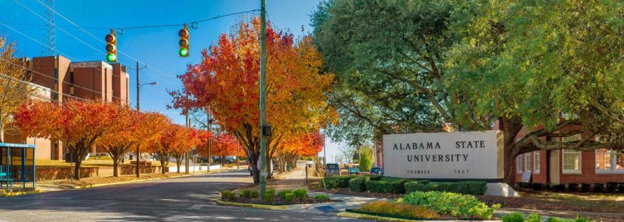 The Alabama State University marquee stands at the corner of South Jackson Street and North University Drive.