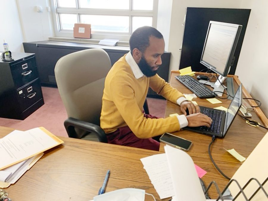 Adofo Minka, a St. Louis Public Defender, prepares for an upcoming legal case.  Minka attended St. Louis School of Law and is a 2009 alumnus of Alabama State University.  Minka began his law career in Jackson, Miss. as a public defender and later returned to St. Louis to serve in the St. Louis Office of Public Defenders.