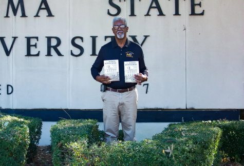 "Releasing his second book in November of 2020, alumnus Joseph D. Caver displays copies of his book, ""From Marion to Montgomery: The Early Years of Alabama State University, 1867-1925"" that are available for purchase on multiple platforms, and hopefully exclusive access to Alabama State University students."
