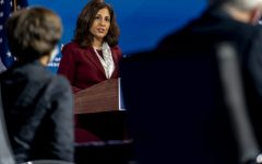 Neera Tanden who President-elect Joe Biden nominated to serve as Director of the Office of Management and Budget, speaks at The Queen theater, Tuesday, Dec. 1, 2020, in Wilmington, Del. President-elect Joe Biden's Cabinet picks are quickly running into the political reality of a narrowly controlled Senate. (AP Photo/Andrew Harnik)