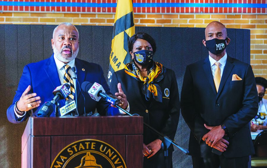 President Quinton T. Ross Jr., Ed.D., announces that Alabama State University is now an administration site for the Alabama Department of Public Health COVID-19 vaccinations during a news conference held on Jan. 25 in the G. H. Lockhart Gymnasium.