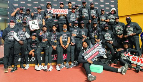 The Alabama State University Indoor Track and Field Championship Team took a moment to celebrate their victory after capturing the SWAC title for 2021 at the Birmingham Crossplex.