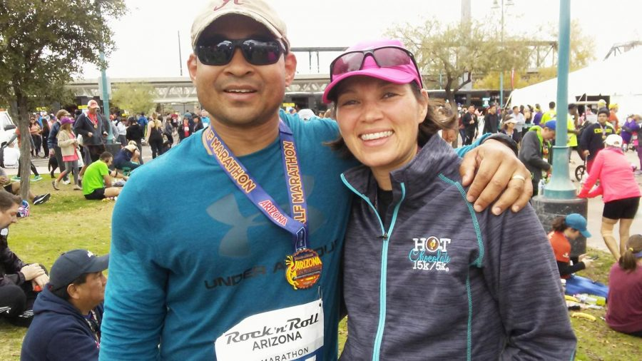 Alabama State University alumnus and Full Bird Colonel Scott Hall and his wife Rochelle take a minute from their entry into the Rock 'n' Roll Arizona Marathon to take a quick snapshot for memories.