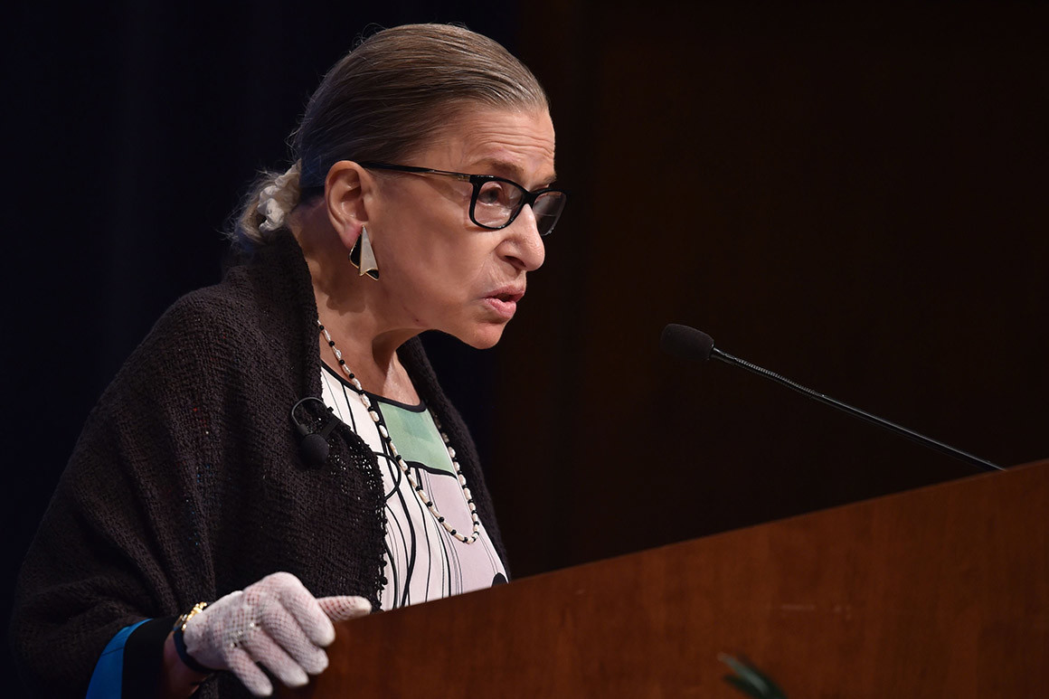 n this Oct. 21, 2019, file photo, U.S. Supreme Court Justice Ruth Bader Ginsburg gestures while speaking at the University of California at Berkeley, in Berkeley, Calif. The Supreme Court says Ginsburg has been hospitalized after experiencing chills and fever.