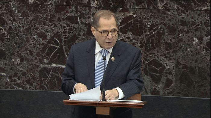 In this image from video, House impeachment manager Rep. Jerrold Nadler, D-N.Y., speaks during the impeachment trial against President Donald Trump in the Senate at the U.S. Capitol in Washington, Wednesday, Jan. 22, 2020. (Senate Television via AP)