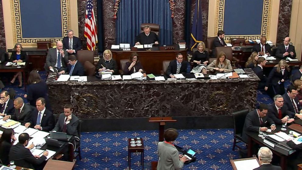 In this image from photo, the final vote total on the motion to subpoena and allow additional witnesses and documents, during the impeachment trial against President Donald Trump in the Senate at the U.S. Capitol in Washington, Friday, Jan. 31, 2020. The motion failed by a vote of 51-49.
