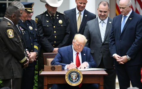 President Donald Trump signs an Executive Order on Safe Policing for Safe Communities, in the Rose Garden of the White House in Washington, on June 16.