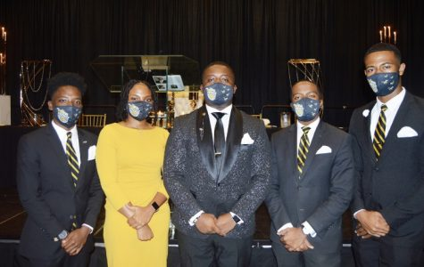 "Members of the ""No Limit"" Executive Branch of the Student Government Association pose as a group after their formal installation.  (L-R) Jeremy Moore, SGA Treasurer, Kayla Lee, SGA Secretary, David Hammond, SGA President, Tyler Rice, SGA Vice President and Dax Craig, Chief of Staff"