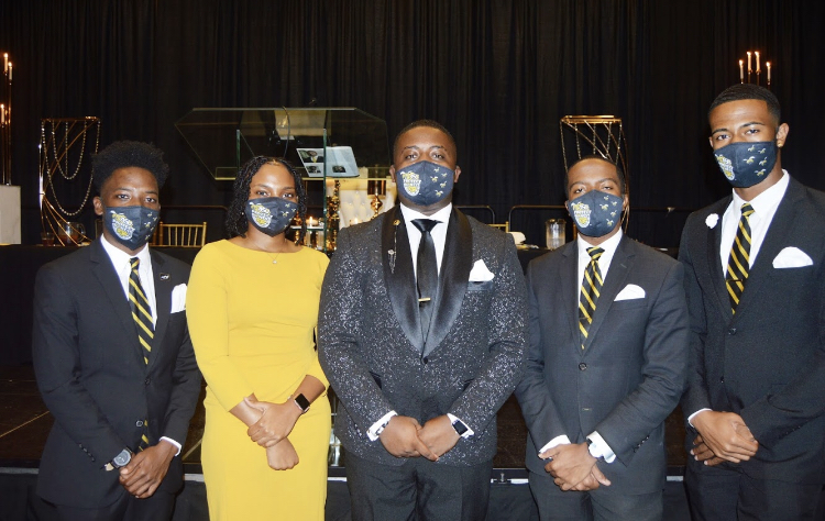 """Members of the """"No Limit"""" Executive Branch of the Student Government Association pose as a group after their formal installation.  (L-R) Jeremy Moore, SGA Treasurer, Kayla Lee, SGA Secretary, David Hammond, SGA President, Tyler Rice, SGA Vice President and Dax Craig, Chief of Staff"""
