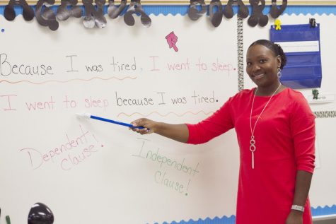 Angela Harris Hampton goes over some English concepts for her 5th grade class at Wynton Blount Elementary School.