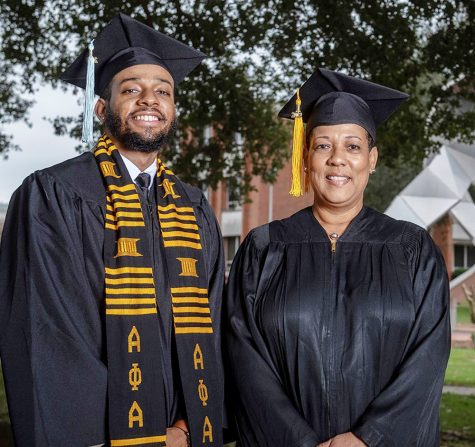 Photos of graduates Lauren Salter and her son Courtney Salter who are both graduating Nov. 2020.  Photo by David Campbell/Alabama State University