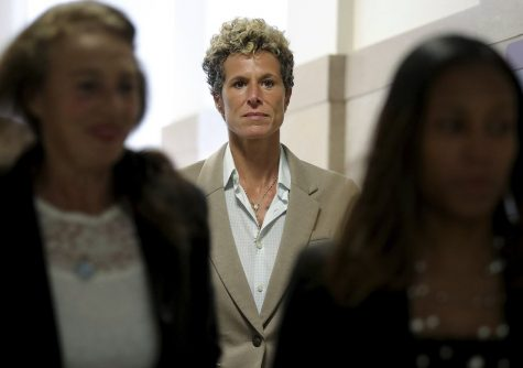 FILE - In this Sept. 24, 2018 file photo, accuser Andrea Constand returns to the courtroom during a lunch break at the sentencing hearing for Bill Cosby at the Montgomery County Courthouse in Norristown, Pa. Cosby, 83, has spent more than two years in prison since he was convicted of drugging and sexually assaulting Constand, a Temple University employee he had taken under his wing, in 2004. Now the Pennsylvania Supreme Court is set to hear his appeal of the conviction on Tuesday, Dec. 1, 2020. The arguments will focus on the trial judge