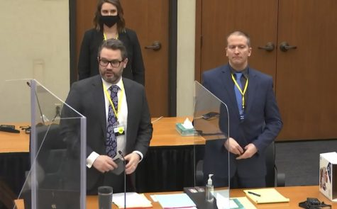 In this image taken from video, defense attorney Eric Nelson, left, and defendant former Minneapolis police officer Derek Chauvin, right, and Nelson