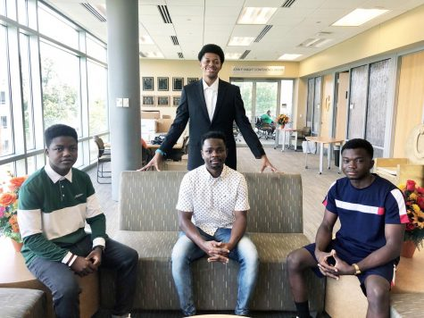 (Seated)) Robert Mukuchura, Lateef Okolo, Obaloluwa Olaniran will serve as managing editors for The Hornet Tribune.  Not pictured is Anthoni A. Wardlaw, who is also a managing editor.  (Standing)  Micah Sanders wll serve as the editor-in-chief