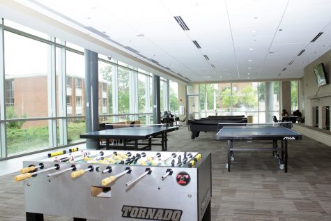 Pictured is the newly established game room, which is located in the rear of the John Garrick Hardy Center. The space allotted for the game room is about the same as the original space.