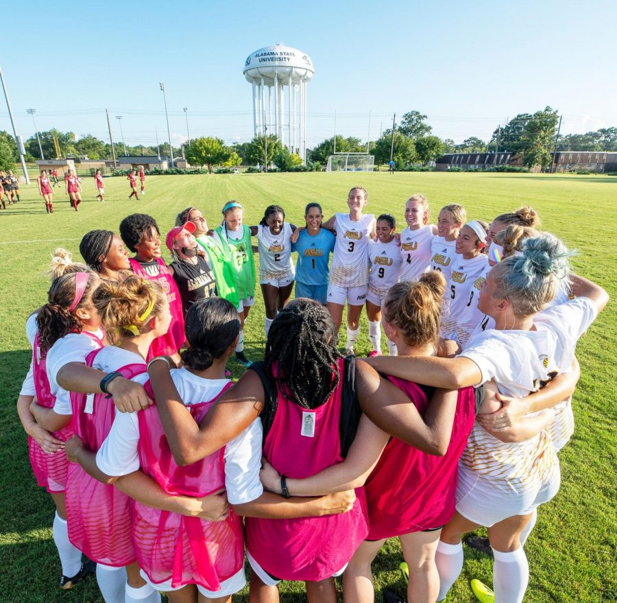The Alabama State University Lady Hornet Soccer team won the Southwest Athletic Conference title during the 2021 season and they huddle to prepare for their first exhibition game against Troy University as they defend their conference championship.