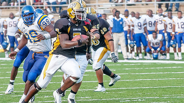 Former Alabama State quarterback Tarvaris Jackson became the first inductee into the Alabama State Ring of Honor.